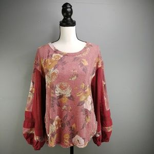 Free People NWT Flower Patch Floral Thermal Top